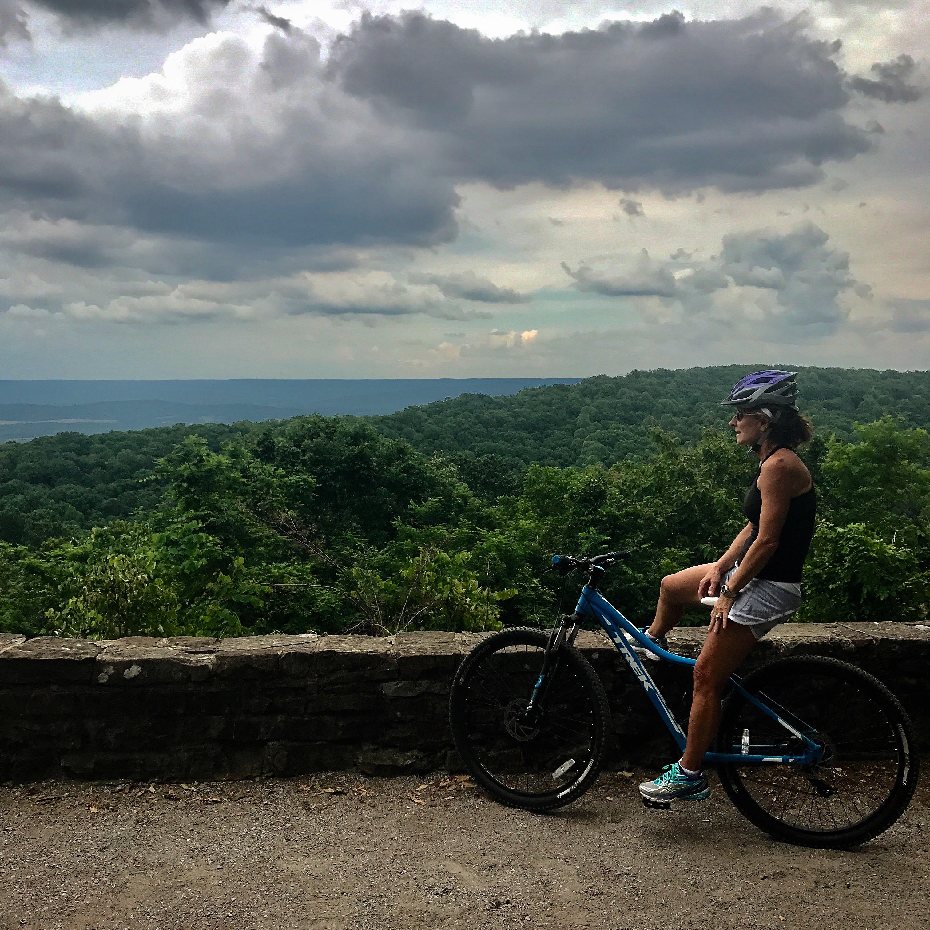 Jenny Brown Short of Walker County, Alabama, on a bike.